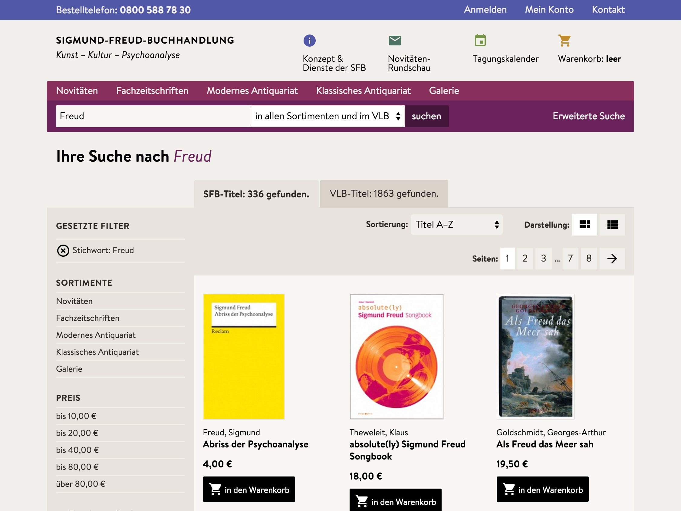 Website Sigmund-Freud-Buchhandlung