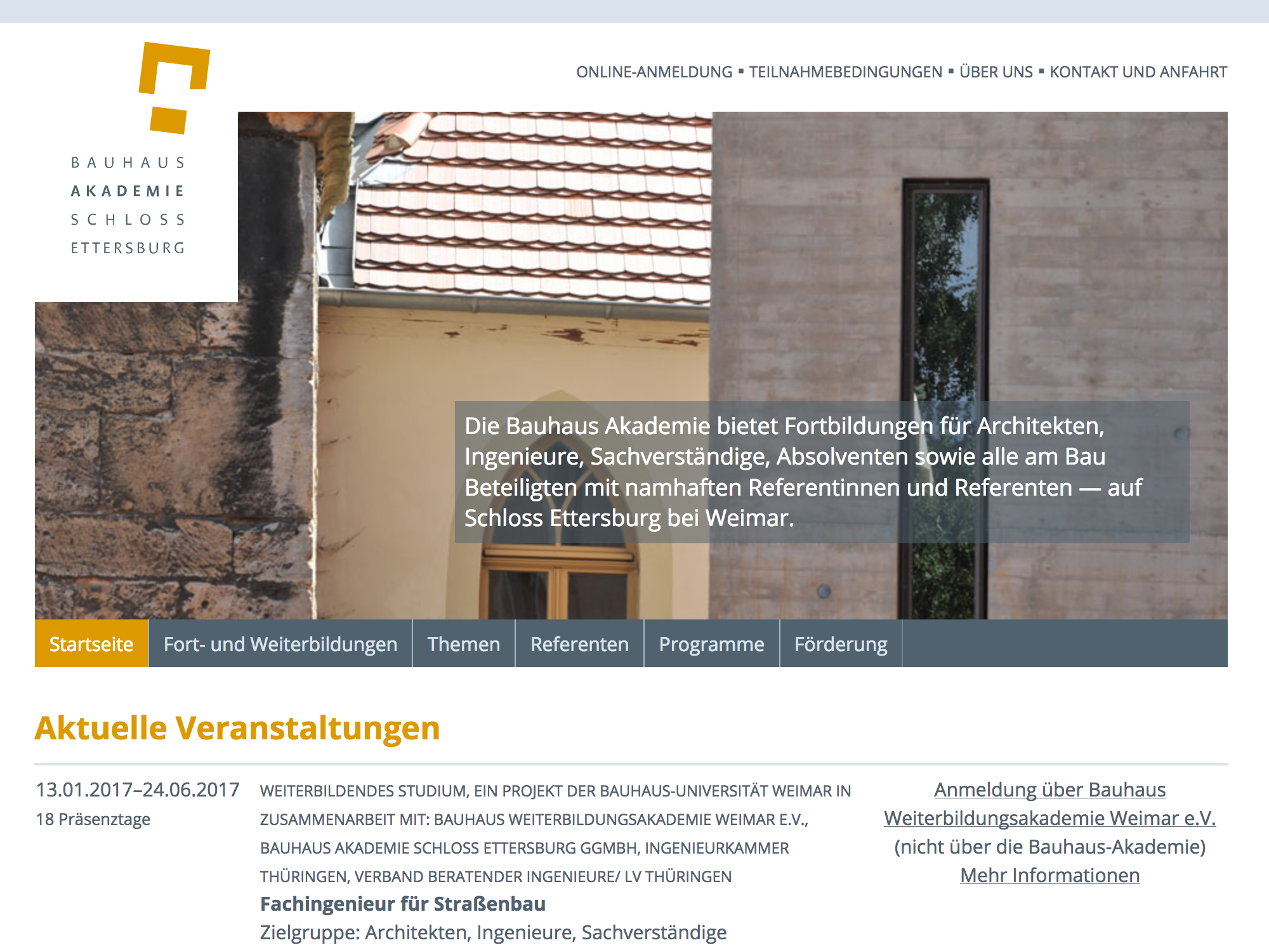 Website bauhausakademie.de